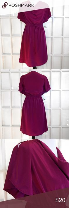Mossimo Magenta Drape Dress This is a fabulous dress! Beautiful draped neck, split flutter Sleeve and fitted waist with sash. Wear to work or an evening out! 100% Polyester Machine Washable Mossimo Supply Co Dresses Midi