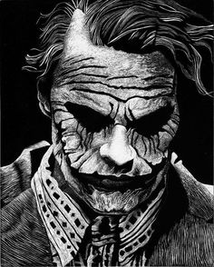 """My first attempt at Scratchboard featuring the memorable Heath Ledger from The Dark knight as Joker. I used a picture of a Hot Toys Sideshow collectible """"The Joker (Bank Robber Version as ref. Joker Images, Joker Pics, Joker Art, Joker Batman, Dc Comics, Black Comics, Joker Drawings, Heath Ledger Joker, Creation Art"""