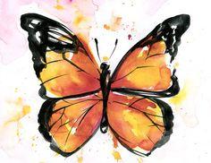Monarch Butterfly Watercolor via- KathyMortonStanion