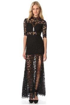 1512bd8556 Chicloth Black High Slit V Back Lace over Maxi Dress