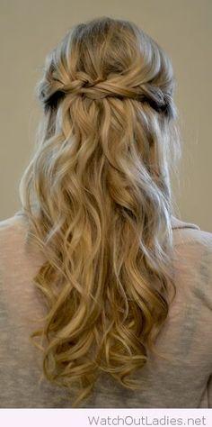 Wonderful long blonde curls with a braid