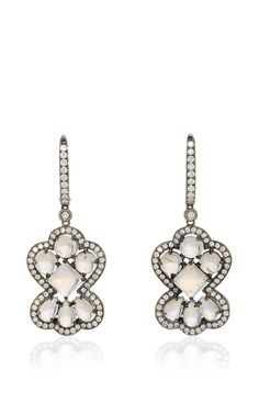 One of a Kind Blue Moonstone and Diamond Earrings by Dana Rebecca Designs for Preorder on Moda Operandi