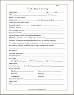 Printables updated: Student Info form, and Student Interview forms