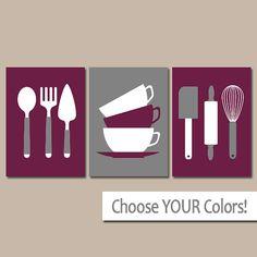Arte de pared de cocina, lienzo o grabados, comedor salón de arte, utensilios cuchara tenedor rodillo tazas Wisk, cuadros de decoración Retro moderna casa, juego de 3