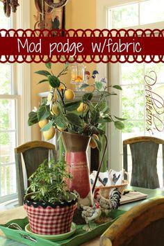 mod podge pot with fabric