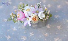 Flowers comb Wedding flower arrangement hair Rustic bridal
