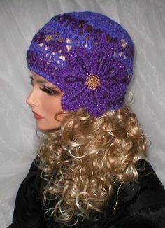 Crochet Women Evening Style Purple Chenille Shimmer Purple Crocodile Stitch Flower Cloche Hat $46.99