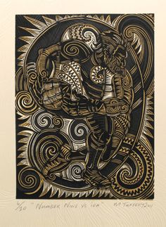 Michel Tuffery, Moana Hawaiiki Nui , woodblock on 760 x 560 mm paper, from an edition of Contemporary Art For Sale, Polynesian Art, Nz Art, Madhubani Art, Maori Art, Ocean Art, Wood Engraving, Woodblock Print, Paintings For Sale