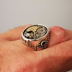 Steampunk ring Watch Part Ring in white bronze made in NYC Style Steampunk, Steampunk Rings, White Opal Ring, Skeleton Key Necklace, My Gems, Everyday Rings, Ring Watch, Coin Ring, Bijoux