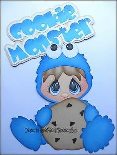 Premade Paper Pieced Cookie Monster Set for Scrapbook Page by Babs   eBay