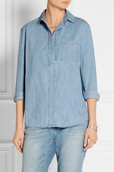 Light-blue denim Concealed button fastenings along front Fabric1: 100% cotton; fabric2: 51% cupro, 49% cotton Machine wash Designer wash: Tottenham