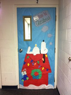 Peanuts winter door - add snowflakes and menorah to design