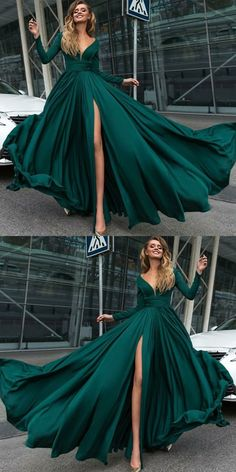 A-Line Deep V-Neck Long Sleeves Dark Green Prom Dress with Split, goegeous dark green long prom dresses with sleeves, unique v neck evening dresses with slit #prom2018