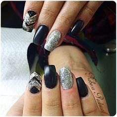 Acrylic Black Matte Nails