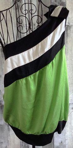 bebe 100% Silk Blouse Top 1 Shoulder Color Block Striped Size Large #bebe #Top