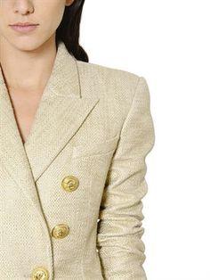 balmain - women - jackets - double breasted cotton natté lamé jacket