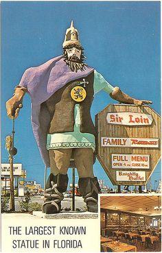 Sir Loin Family Restaurant statue, Front Beach Rd, Panama City Beach, Florida by stevesobczuk Vintage Florida, Old Florida, Florida Travel, Travel Oklahoma, Beach Travel, Panama City Beach Florida, Panama City Panama, Florida Beaches, Bay County
