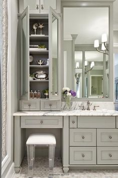 Gray Bath Vanity with Lucite Stool – Transitional – Bathroom