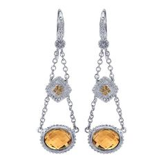 925 Silver/18k Yellow Gold Citrine Drop Earrings | Gabriel