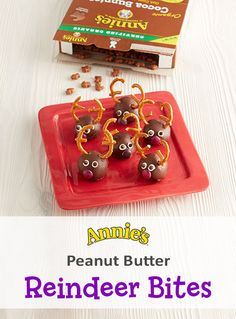 Chocolate, peanut butter, and adorable lil' reindeer? It is the most wonderful time of the year. To make these holiday treats for your next party: crush Annie's Organic Cocoa Bunnies into fine crumbs. Beat peanut butter, butter & vanilla until combined. Add salt, sugar & cereal & mix. Spoon out 2 tablespoon scoops of mix & roll between your hands to make a ball shape. Place on parchment lined tray & refrigerate for 1 hour. Cover with chocolate & refrigerate until firm. Decorate & enjoy!