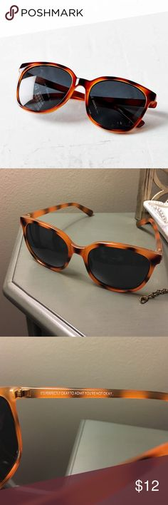 """URBAN OUTFITTERS SUNGLASSES 😎 UO unworn sunglasses. No scratches. Cute pep talk on the inside too 💕😎🤓 """"Classic, slim plastic frame in a polished finish with an oversized fit, dark lenses + 100% UVA/UVB protection."""" Size - Width: 5.75"""" - Height: 2.13"""" - Nose gap: 0.5"""" Urban Outfitters Accessories Sunglasses"""