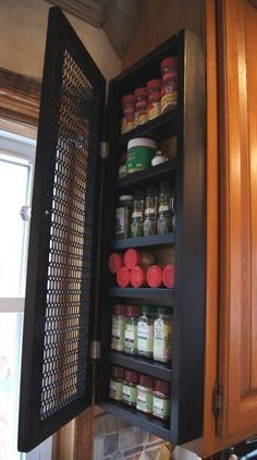 Add Spice rack somewhere = Frugality Gal: 14 Frugal Kitchen Organizing Ideas Cabinet Spice Rack, Spice Racks, Cabinet Storage, Cabinet Ideas, Spice Cabinets, Bathroom Storage, Diy Cabinets, Bathroom Ideas, Cherry Cabinets