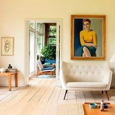 Finn Juhls home. The Poet sofa, Lundstrøm portrait of Juhls wife