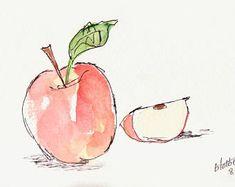 Red Apple Fruit Original Watercolor Art Painting Pen and Ink Watercolor Hand Painted Fruit Art