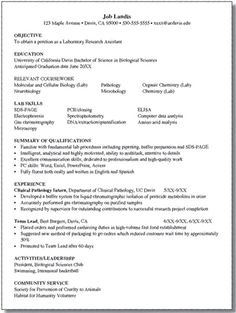 Internship And Career Center, UC Davis / Health And Biological Sciences /  Sample Resumes  Biology Major Resume