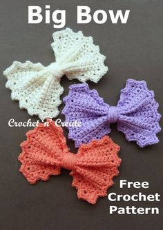 Crochet Bows, Crochet Gifts, Crochet Motif, Crochet Flowers, Free Crochet, Crochet Appliques, Crochet Hair Accessories, Crochet Embellishments, Crochet Instructions