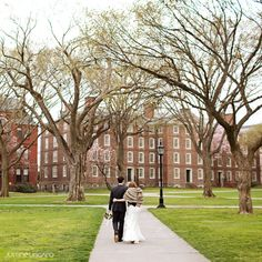 bride & groom on Brown University campus