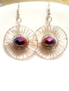 Circular Iridescent Earrings Hoop Celestial by AbsoluteJewelry