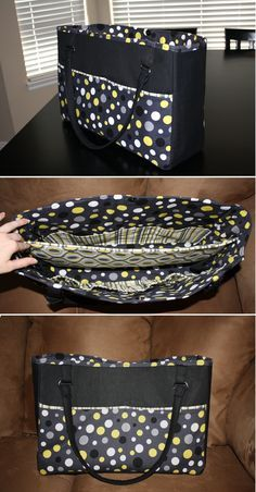 DIYBag.It is big, sturdy and has SO many pockets!! I love it! Here's the link to the how-to tutorial... http://www.warehousefabricsinc.com/blog/diaper-bag-with-a-divider/