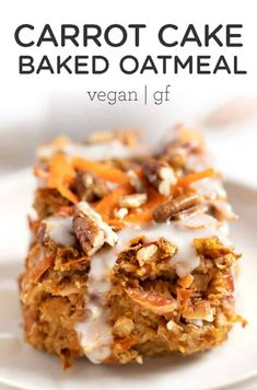 This HEALTHY Carrot Cake Baked Oatmeal is gluten-free, vegan and packed with flavor! It's like you're having a slice of carrot cake for breakfast! Easy, homemade, from-scratch recipe made with flax eggs.