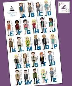 """Today's featured #crossstitch pattern:  """"You're a #marshmallow, Veronica Mars.""""  Show the world your inner Marshmallow with this Veronica Mars themed alphabet cross stitch.  Stitch it for your library, your media ... #aida #abc #pi #investigation #detective #tv #movie ➡️ http://etsy.me/2hHfQAA"""