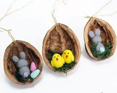 Lot de 3 décorations de Pâques, oeuf de Pâques, lapin de Pâques, poussin de Pâques, cadeau de vacances de Pâques, ornement de Pâques, Pâques décorations Home Decor