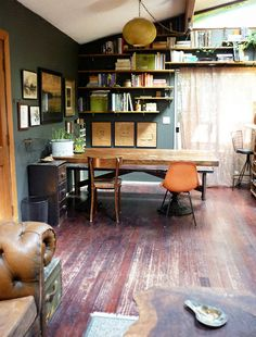 wood table, mismatched chairs 2, wall colour, general vibe