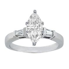 Marquise Diamond Engagement Ring with Tapered Baguette Diamond Accents 0.20 tcw. In 14K White Gold