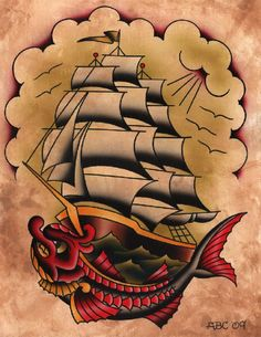 Ahoy by Aaron Cox Vintage Pirate Ship Tattoo Giclee Canvas Art Print Stretched Canvas Prints, Canvas Art Prints, Traditional Tattoo Flash, Pirate Ship Tattoo Traditional, Rolled Paper Art, Sailor Jerry Tattoos, Tatuagem Old School, Desenho Tattoo, American Traditional