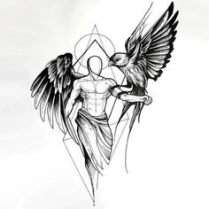 Sketch style angel with owl tattoo design tattoo sketch art, tattoo design drawings, tatto Owl Tattoo Design, Tattoo Design Drawings, Tattoo Designs Men, Cool Drawings, Angel Tattoo Designs, Ink Drawings, Bild Tattoos, Body Art Tattoos, Sleeve Tattoos
