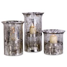 Imax - Set of 3 Crackled Glass Candleholders