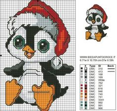 Penguin Christmas cross stitch.