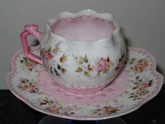 T & V Limoges Demitasse Pink Floral Tea Cup + Saucer #4