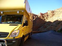 Mercedes Sprinter RV in the Dades Gorge in Morocco - twisty and steep.