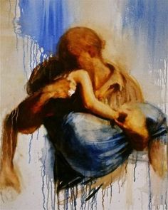 Painted by Charles Mackesy. He painted this for a friend who struggled with bipolar disorder and being held is something that she always wanted. Charles painted this and told her that this is what God is like. What a special friend he is!!! •Prodigal Daughter•