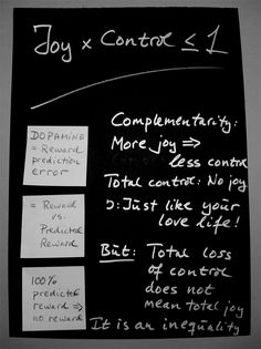 Her er beviset: Du kan ikke kontrollere dig til et lykkeligt liv... Tor Nørretranders.    Here is the proof:  If you try to bring (to much) control to your life - your joy will diminish... according to Danish author Tor Nørretranders.