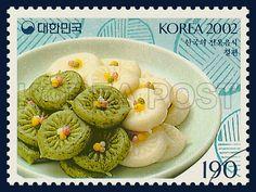 Korean Food Series (2nd), jeolpyeon, Traditional Food, Ivory, Green, Turquoise, 2002 06 15, 한국의 전통음식 시리즈(두번째묶음), 2002년06월15일, 2222, 절편, postage 우표