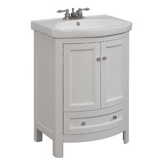 Runfine 24 in. W x 19 in. D x 34 in. H Vanity in White with Vitreous China Vanity Top in White and White Basin-RFVA0069W - The Home Depot