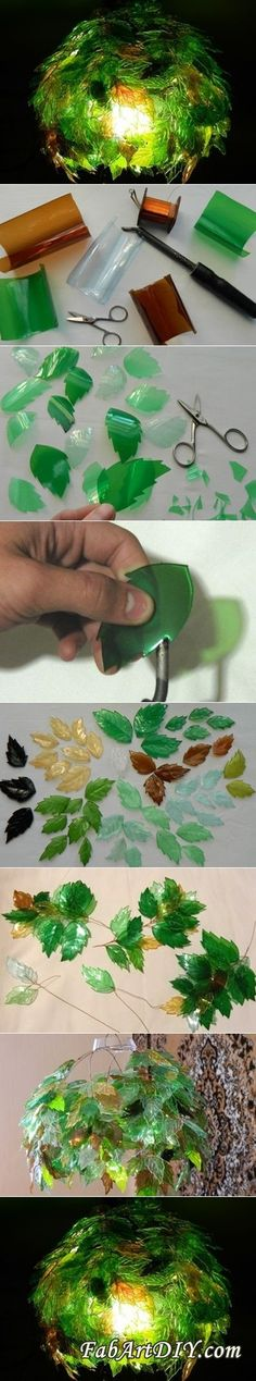 (via DIY Leaf Lamp Shade from Plastic Bottles | www.FabArtDIY.com)