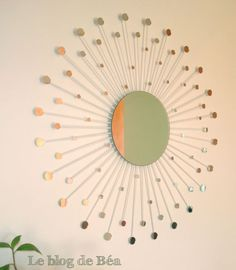 50 Fab DIY Mirror Frames You Can Easily Make Yourself - How to make a DIY constellation mirror Handmade Mirrors, Unique Mirrors, Custom Mirrors, Diy Simple, Easy Diy, Diy Photo, Casa Retro, Beaded Mirror, Retro Mirror